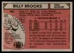 1980 Topps #483  Billy Brooks  Back Thumbnail