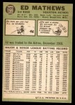 1967 Topps #166  Eddie Mathews  Back Thumbnail