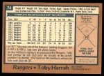 1978 O-Pee-Chee #74  Toby Harrah  Back Thumbnail