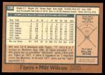 1978 O-Pee-Chee #136  Milt Wilcox  Back Thumbnail