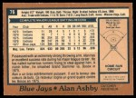 1978 O-Pee-Chee #76  Alan Ashby  Back Thumbnail