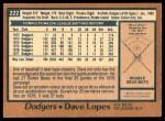 1978 O-Pee-Chee #222  Dave Lopes  Back Thumbnail