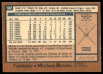 1978 O-Pee-Chee #182  Mickey Rivers  Back Thumbnail