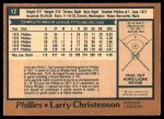 1978 O-Pee-Chee #17  Larry Christenson  Back Thumbnail