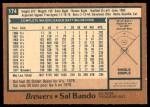 1978 O-Pee-Chee #174  Sal Bando  Back Thumbnail