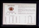 1970 Kellogg's #34  John Mackey  Back Thumbnail