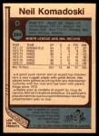 1977 O-Pee-Chee #344  Neil Komadoski  Back Thumbnail