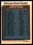1977 O-Pee-Chee #74   Blackhawks Team Back Thumbnail