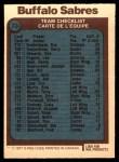 1977 O-Pee-Chee #73   Sabres Team Back Thumbnail