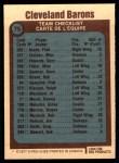 1977 O-Pee-Chee #75   Barons Team Back Thumbnail