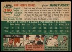 1954 Topps #166  Johnny Podres  Back Thumbnail