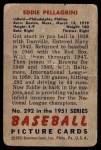 1951 Bowman #292  Eddie Pellagrini  Back Thumbnail