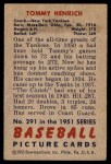 1951 Bowman #291  Tommy Henrich  Back Thumbnail
