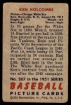 1951 Bowman #267  Ken Holcombe  Back Thumbnail