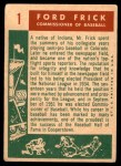 1959 Topps #1   -  Ford Frick Commissioner of Baseball Back Thumbnail