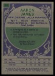 1975 Topps #91  Aaron James  Back Thumbnail