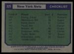 1975 Topps #325   New York Nets Back Thumbnail