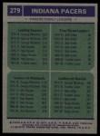 1975 Topps #279   -  Billy Keller / George McGinnis Pacers Team Leaders Back Thumbnail