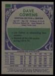 1975 Topps #170  Dave Cowens  Back Thumbnail