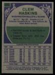 1975 Topps #173  Clem Haskins  Back Thumbnail