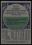 1975 Topps #243  Rich Jones  Back Thumbnail