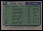 1975 Topps #217   Phoenix Suns Back Thumbnail
