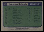 1975 Topps #323   Kentucky Colonels Back Thumbnail
