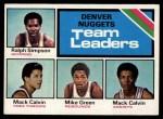 1975 Topps #278   -  Mack Calvin / Mike Green / Ralph Sampson Nuggets Team Leaders Front Thumbnail
