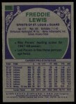 1975 Topps #275  Fred Lewis  Back Thumbnail