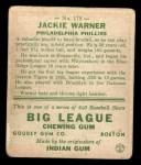 1933 Goudey #178  Jack Warner  Back Thumbnail