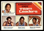 1975 Topps #124   -  Nate Archibald / Ollie Johnson / Sam Lacey Kings-BskB Team Leaders Front Thumbnail
