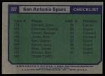1975 Topps #327   San Antonio Spurs Back Thumbnail