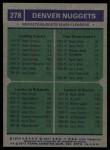 1975 Topps #278   -  Mack Calvin / Mike Green / Ralph Sampson Nuggets Team Leaders Back Thumbnail
