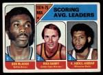 1975 Topps #1   -  Kareem Abdul-Jabbar / Rick Barry / Bob McAdoo NBA Scoring Average Leaders Front Thumbnail