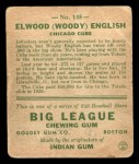 1933 Goudey #135  Woody English  Back Thumbnail
