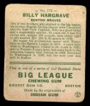 1933 Goudey #172  Billy Hargrave  Back Thumbnail