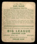 1933 Goudey #206  Gus Suhr  Back Thumbnail