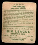 1933 Goudey #231  Joe Moore  Back Thumbnail