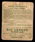 1933 Goudey #138  Herb Pennock  Back Thumbnail