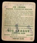 1933 Goudey #189  Joe Cronin  Back Thumbnail