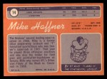 1970 Topps #14  Mike Haffner  Back Thumbnail
