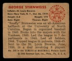 1950 Bowman #249 CPR George Stirnweiss  Back Thumbnail