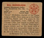 1950 Bowman #228 ^CR^ Bill Nicholson  Back Thumbnail