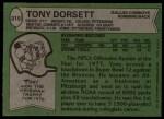 1978 Topps #315  Tony Dorsett  Back Thumbnail