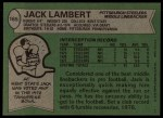 1978 Topps #165  Jack Lambert  Back Thumbnail