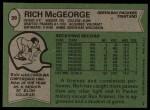 1978 Topps #39  Rich McGeorge  Back Thumbnail