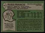 1978 Topps #95  Russ Francis  Back Thumbnail