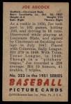 1951 Bowman #323  Joe Adcock  Back Thumbnail