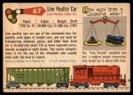 1955 Topps Rails & Sails #67   Live Poultry Car Back Thumbnail