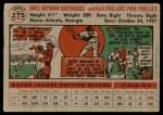 1956 Topps #275  Jim Greengrass  Back Thumbnail